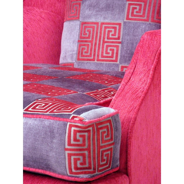 Hot Pink Greek Key Highback Wing Chairs - Pair - Image 4 of 7