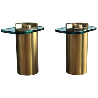 Pair of Mid-Century Modern Karl Springer Cylinder & Glass Sculpture Side Tables