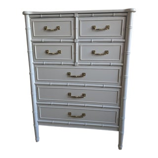 1970s Chinoiserie Henry Link Bali Hai Faux Bamboo Highboy For Sale