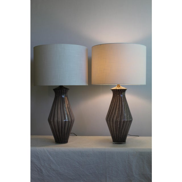 Mid-Century Modern Vintage Modern Tapered Striped Murano Table Lamps - a Pair For Sale - Image 3 of 10