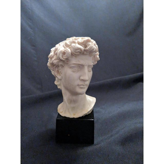 """Empire A. Giannelli Alabaster Sculpture Bust of """"David"""" Marble Base For Sale - Image 3 of 7"""