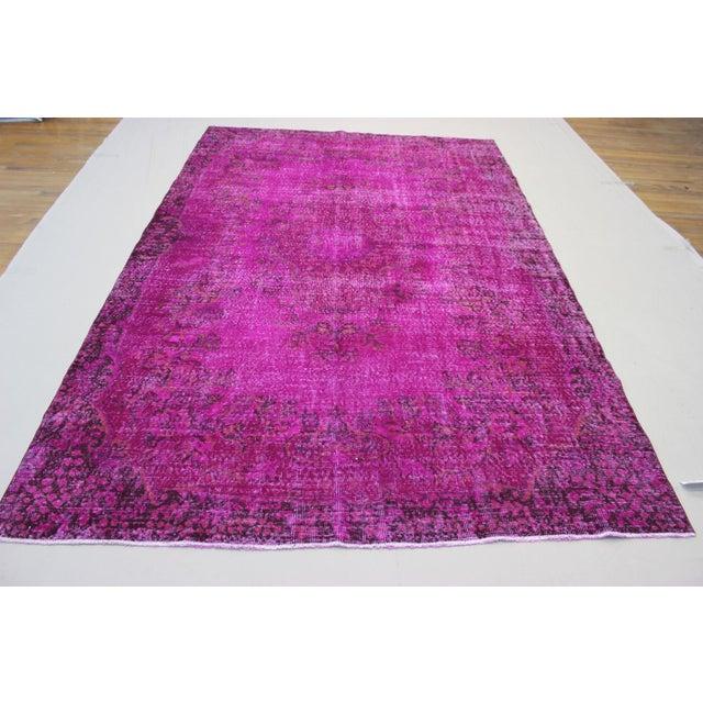 "6'4"" X 10' Turkish Pink Overdyed Rug - Image 2 of 10"