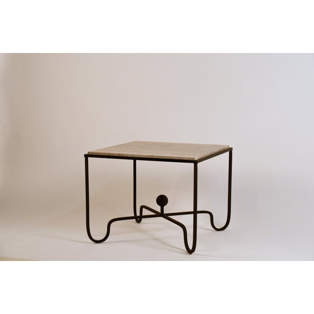 Modern Large 'Entretoise' Silver Travertine Side Tables by Design Frères - a Pair For Sale - Image 3 of 9