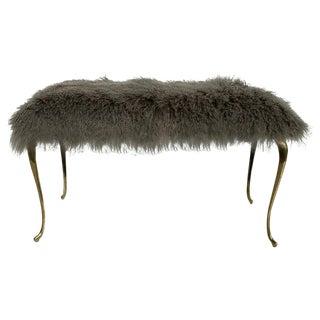 1970s Vintage Mongolian Fur Bench For Sale