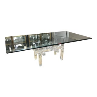 "Modern Glass Top & Lucite Base Table - 84""x48"" For Sale"