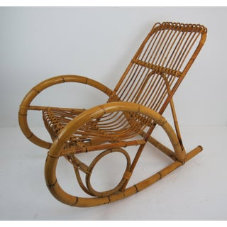 Vintage Franco Albini Style Bamboo Rocking Chair Preview