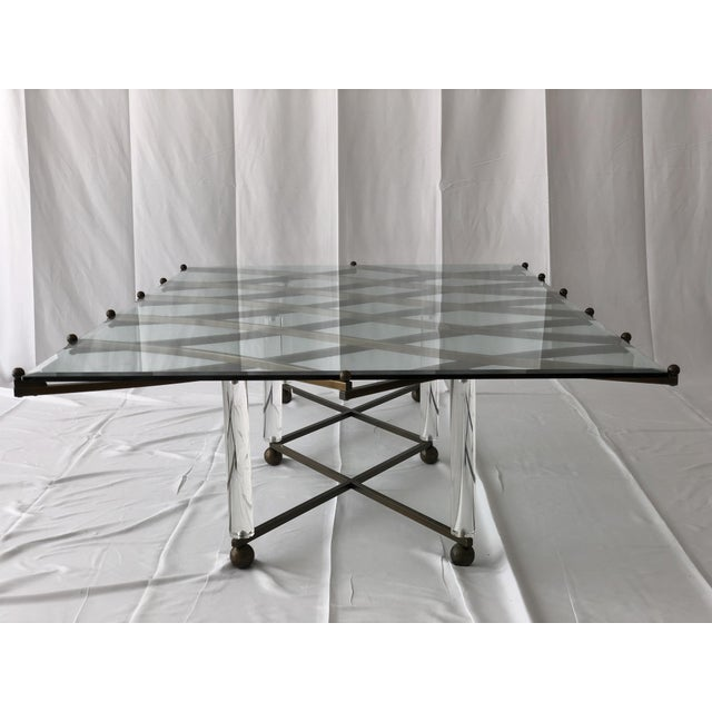 "Custom Charles Hollis Jones ""Treillage"" Coffee Table in Brass and Lucite For Sale - Image 10 of 13"