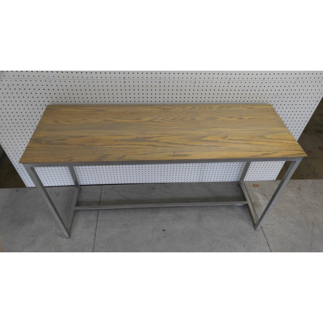 Metal Oak Wood Top & Metal Base Console For Sale - Image 7 of 7