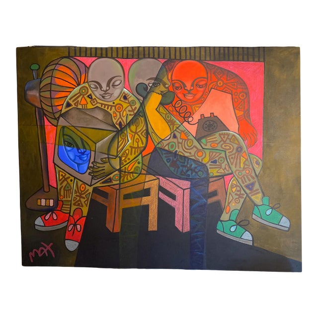 Late 20th Century Contemporary Figurative Abstract Oil Painting For Sale