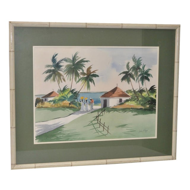 Mid-Century Caribbean Watercolor by John Ward For Sale