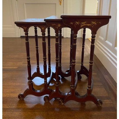 Chinoiserie Late 19th Century Chinoiserie Nesting Tables - Set of 3 For Sale - Image 3 of 3