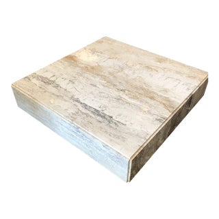 Gorgeous Plinth Travertine Cocktail Table in the Manner of Baughman For Sale