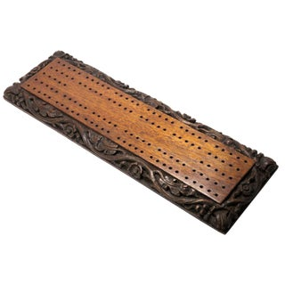 Antique Carved Mahogany Cribbage Game Board