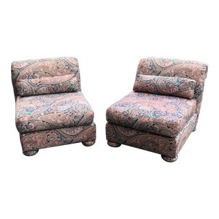 1980s Vintage Lee Industries Parson Slipper Chairs- A Pair For Sale
