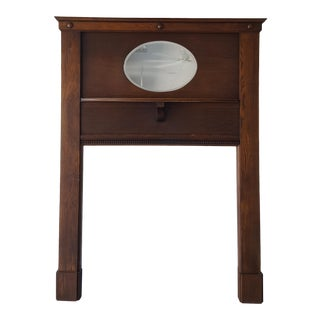 Antique Oak Fireplace Mantel with Mirror For Sale