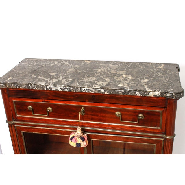 Late 19th Century Late 19th Century Federal Style Mahogany Cabinet with Italian Marble Top For Sale - Image 5 of 11