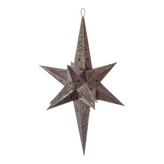 Mexican Handmade Large Tin Star Pendant Light For Sale