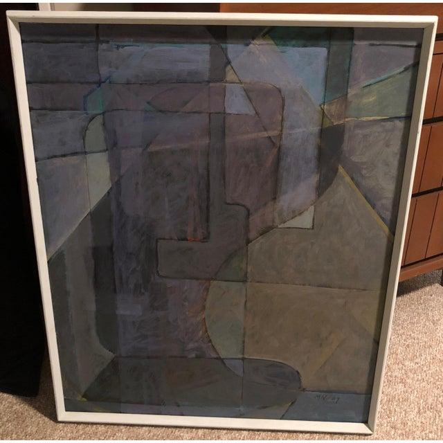 "1980s Vintage Mariko Nutt ""Wine Bottles Series IV"" Abstract Modern Oil Painting For Sale - Image 4 of 6"