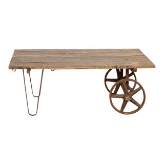 Antique Primitive Industrial Coffee Table Made From Old Work Cart For Sale
