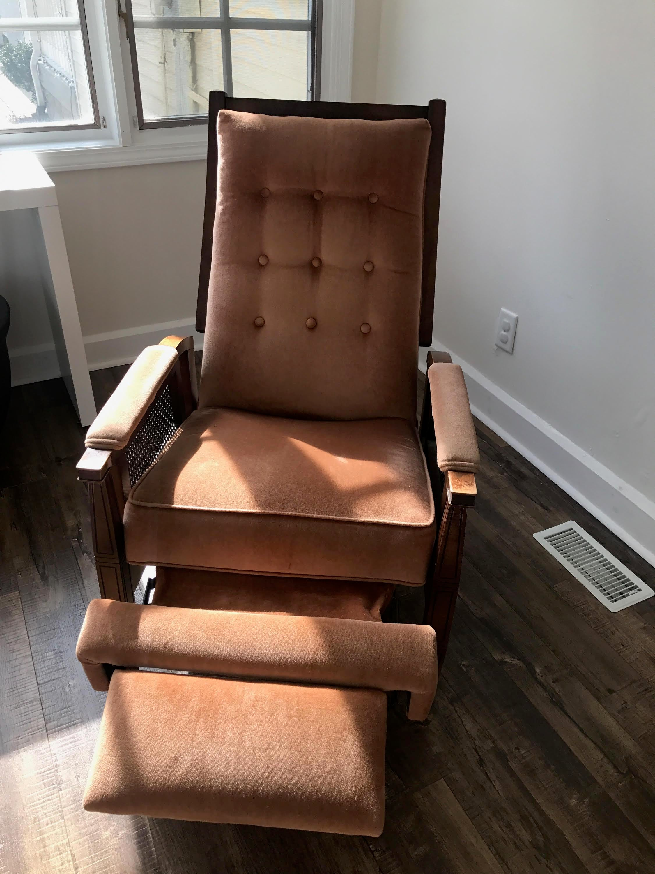 Mid Century Cane Reclining Chair For Sale   Image 5 Of 5