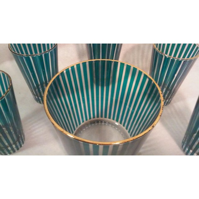 1960s Mid Century Green Stripe Bar Set, Six Pieces For Sale - Image 5 of 6