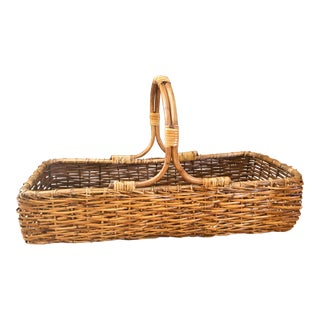 Vintage Handwoven Split Rattan Basket For Sale