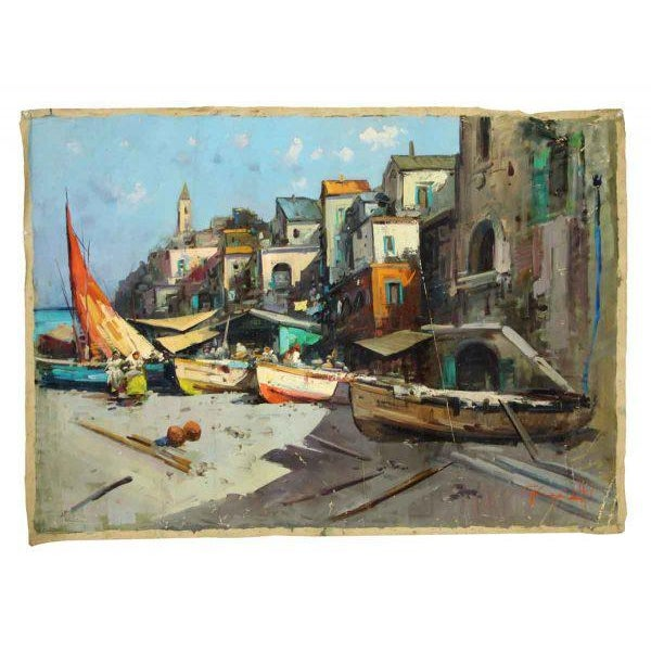 Canvas Marina Village View Oil Painting - Image 2 of 7