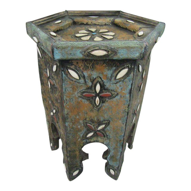 Tin & Gemstone Moroccan Occasional Table - Image 1 of 7