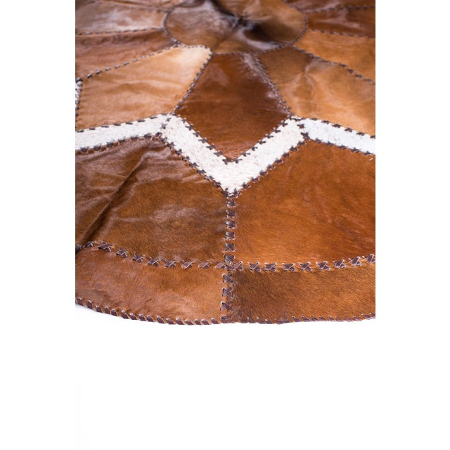 European Design Patchwork Cowhide Rug - 6' X 6' / Hair-On-Hide / Brand New - Image 10 of 10