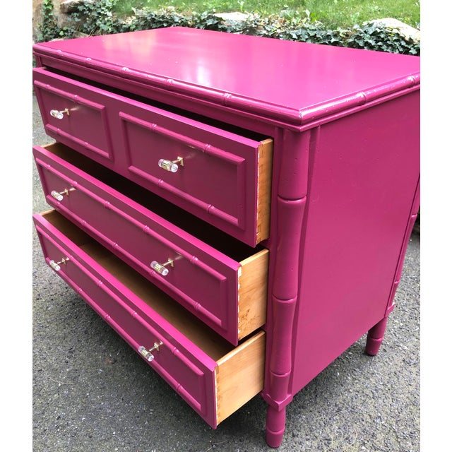 Metal Faux Bamboo Three Drawer Bachelor Chest For Sale - Image 7 of 9