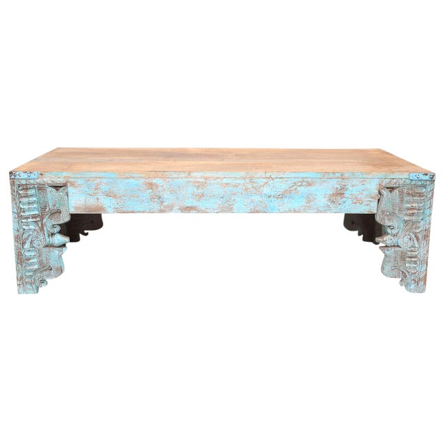 Turquoise Carved Peacock Coffee Table - Image 1 of 2