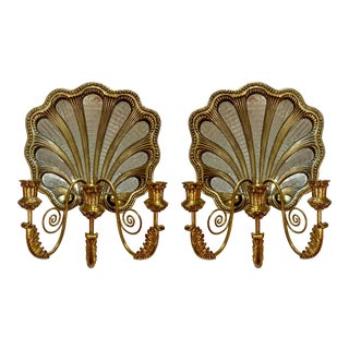 Pair of Large Maitland-Smith Mirrored Shell Sconces For Sale