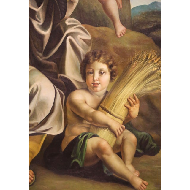 Large Mid-Century French Allegory Oil on Canvas Painting in Carved Frame For Sale In Dallas - Image 6 of 10