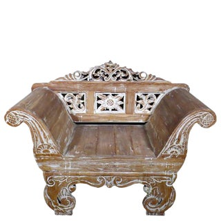 Carved Teak Balinese Armchair For Sale