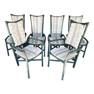 Mid Century Dark Teal Rattan Dining Chairs- Set of 6 For Sale