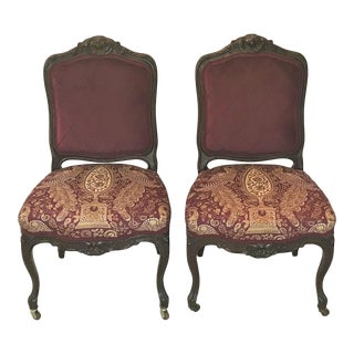 19th Century Carved Mahogany Louis XV Velvet & Chintz Side Chairs - a Pair For Sale