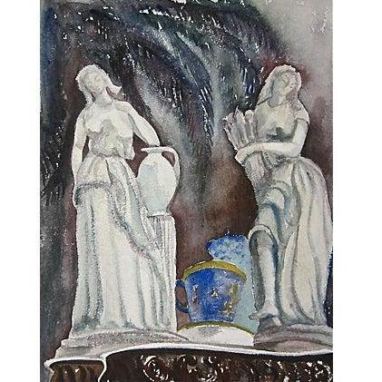 Original Vintage Classical Figural Watercolor For Sale