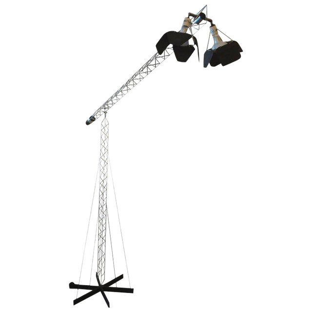 Curtis Jere Large Size Crane Standing Lamp, Signed, 1977 For Sale