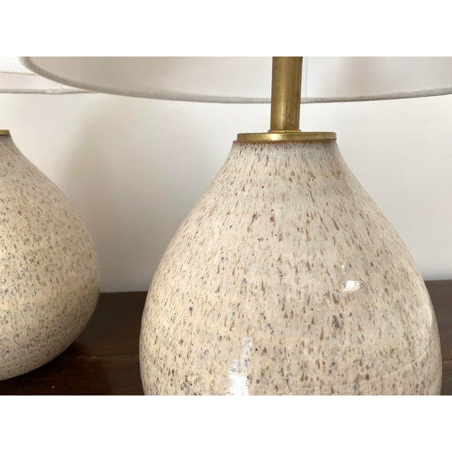 Organic Modern Handmade Ceramic Table Lamps - a Pair For Sale - Image 4 of 11