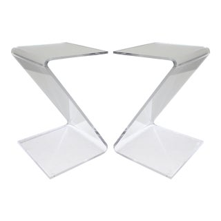 "Lucite ""Z"" Side Drinks Tables- a Pair"
