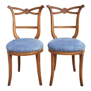 Vintage Neoclassical Style Boudoir Chairs- a Pair For Sale
