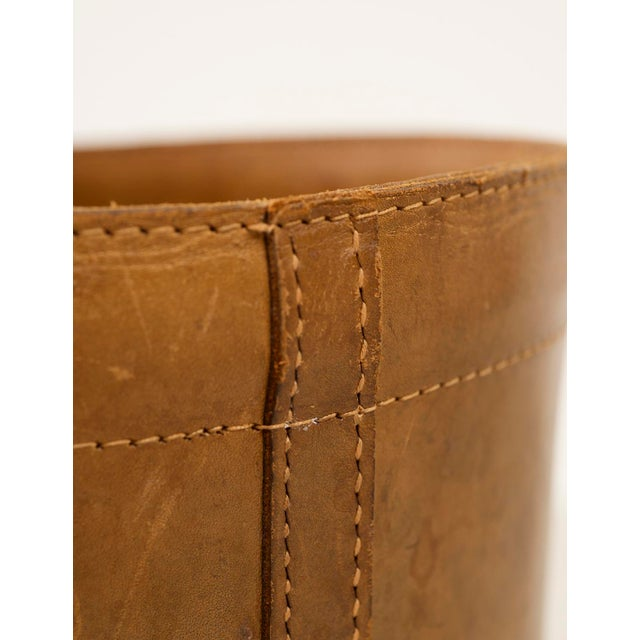 Tan Leather Danish Wastebasket, 1960s For Sale - Image 8 of 11