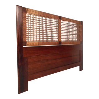 Mid-Century Queen Sized Rosewood and Cane Headboard For Sale