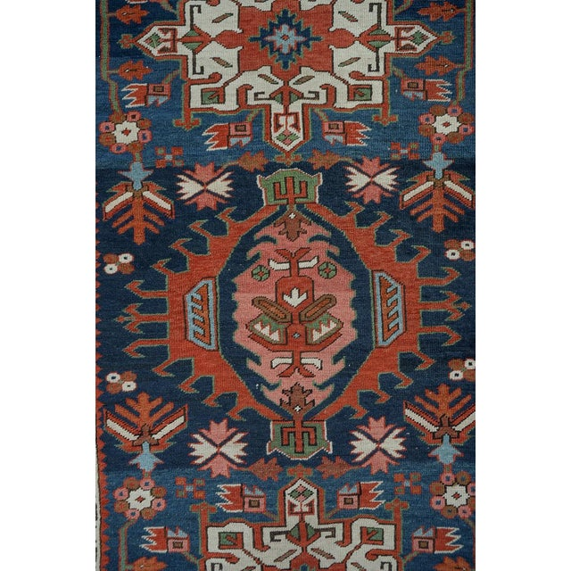 Caucasian Kazak Tribal Design Runner Rug - 4′ × 12′11″ For Sale - Image 9 of 10