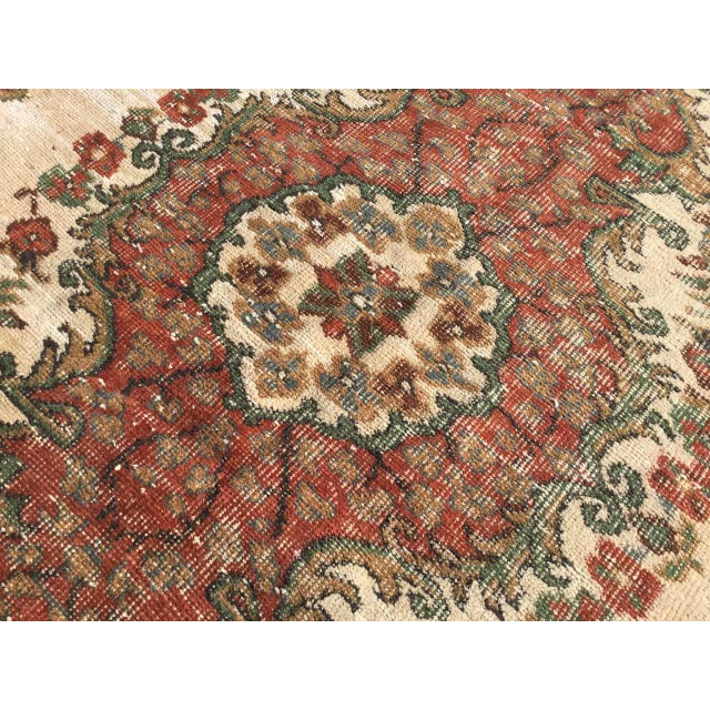 1940s Vintage Hand Knotted Turkish Rug For Sale - Image 5 of 11