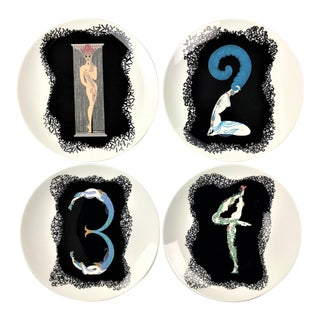 "Erté Art Deco Revival ""The Numerals"" Plates by Mikasa - Set of 4 For Sale"