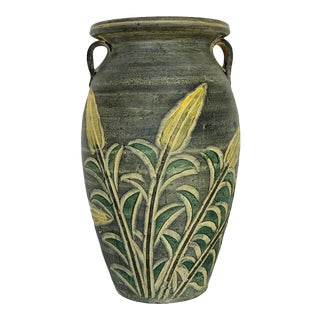 Vintage Bass Relief Vase With Botanical Detail For Sale