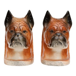 C. 1950s Boxer Dog Porcelain Bookends- A Pair For Sale