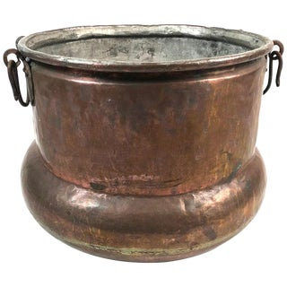 Large European Copper Pot for Firewood For Sale