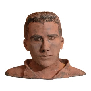 Young Man Terra Cotta Bust Signed MD